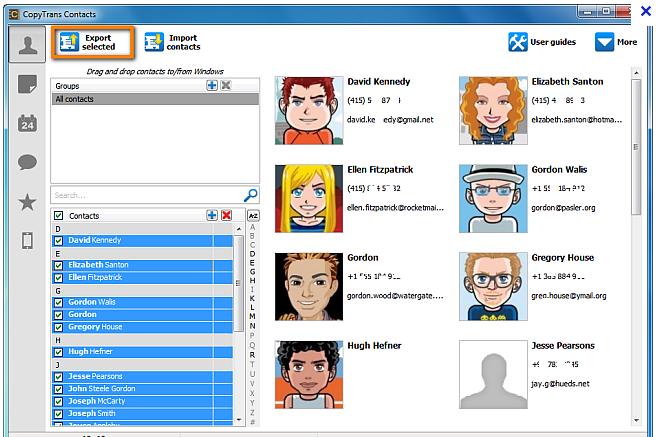 contacts sélectionnés